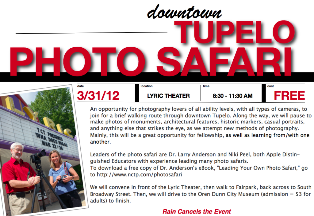 Tupelo Photo Safari Flyer